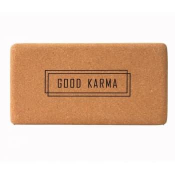 Кирпич для йоги из пробки с принтом Good Karma (под заказ из СПб)
