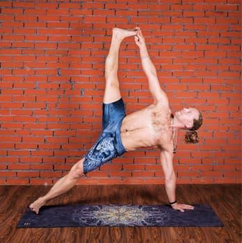 Коврик для йоги Перо павлина Letsmakeyoga с принтом каучуковый